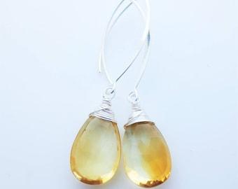 BIG Citrine Gemstone Sterling Silver Briolette Earrings EE Designs
