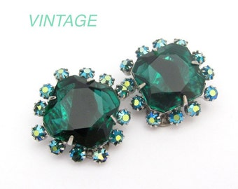 Clip On Earrings Vintage Rhinestone, Green Givre Glass Cabochons, Silver Tone Clip On Earrings, Wedding Clip On Earrings, Party Bride Prom