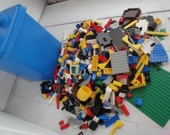 Lego Blocks Over 3 pounds plus Storage Container Vintage Blue