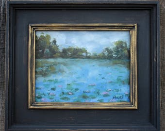 POND with LILY PADS - 7.5 X 10 - Landscape - Blue - Green - Original Oil Painting - Honeystreasures - Art - Wall Hanging - Water - Flowers