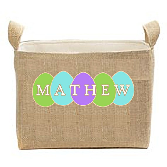 Personalized Easter Basket. Burlap Easter Bucket, Large Lined Easter Buckets, Kids Easter Basket, Toy Bin, Bedroom Storage Bin, Organization