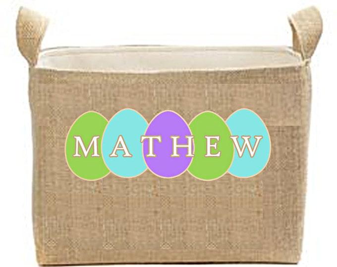 Personalized Easter Basket. Burlap Easter Bucket, Large Lined Easter Buckets, Kids Easter Basket, Toy Bin, Bedroom Storage Bin, Organization