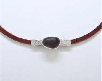 Sea Glass Jewelry - Sterling Rare Victorian English Sea Glass Choker Bar Necklace
