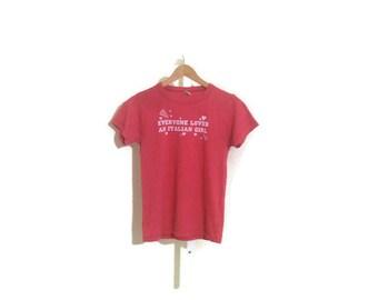 tshirt / 90s vintage / italian girls /  pullover / 33 bust / 23 length 6 sleeves / savannahwillow