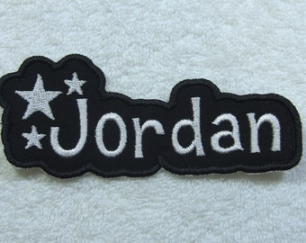 Name Patch with Stars Personalized Single Name Patch Fabric Embroidered Iron On Applique Patch MADE TO ORDER