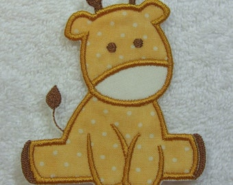 Baby Giraffe Fabric Embroidered Iron On Applique Patch Ready to Ship