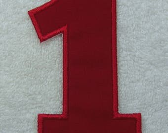 Iron on Number 1 in 13 Color Choices Fabric Embroidered Iron on Applique Patch Made to Order