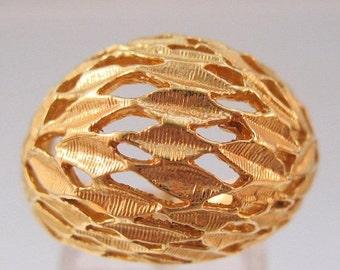 XMAS SALE Vintage 18k HGE Dome Ring Open Work Size 8 Ladies Costume Jewelry Jewellery