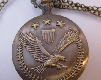 SALE ON Ends 4/30 Vintage USA Army Eagle Emblem Pocket Watch & Chain Necklace Costume Jewelry Jewellery