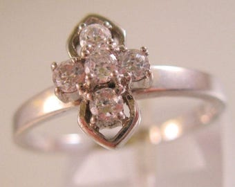 SALE ON Ends 4/30 Cross CZ Sterling Silver Ring Size 9 Estate Jewelry Jewellery