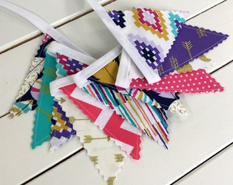 Bunting Banner Mini,Fabric Flags,Photography Prop,Bohemian,Southwestern - Magenta Pink,Turquoise,Navy Blue,Gold,Aztec,Tribal,Feather,Purple