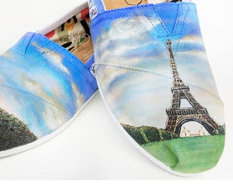 Custom TOMS Shoes - Hand Painted Paris Eiffel Tower