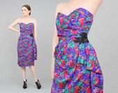 80s Silk Strapless Dress | size Medium | Sweetheart TASSEL Novelty Print Beaded Appliqué Party Cocktail Wiggle Dress Purple Pink | M 10