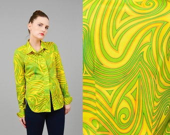 Vintage 90 Shirt Groovy PSYCHEDELIC Shirt Collared Button Up Shirt 70s Disco Top Club Kid Shirt Yellow Green Medium Large M L