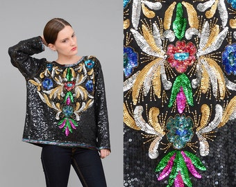 80s Beaded Top, Floral Sequin Blouse, Silk Art Deco Cocktail Party Top, 80s Trophy Blouse, Black Gold Medium Large M L
