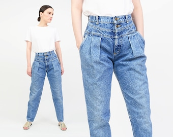 Vintage 80s LEE Blue Jeans - Pleated Front Denim Pants - High Waist Seamed Jeans - Tapered Leg Mom Jeans - Small S US 2/4