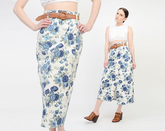 Vintage 90s Ivory Floral Jean Skirt - Revival Boho Denim Pencil Midi Skirt - Wiggle Pencil Wrap Skirt - Blue White Small Medium S M