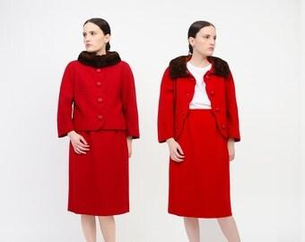 Vintage Zelinka Matlick Red Wool Suit 2 Piece 60s Jackie O Set Brown Mink Fur Collar SCALLOPED Jacket High Waist Pencil Skirt Medium M