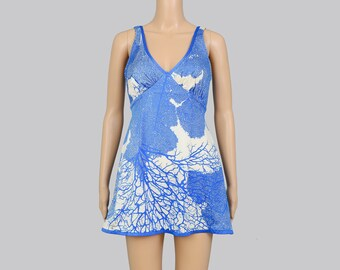 Vintage 60s 70s Swimsuit | Abstract TREE Print Swimsuit | Skirted Swim Suit | One Piece Dress Swimsuit | White Blue | Sirena Size S M 14