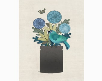 "Bird Art Collage, Botanical Art Print, ""Little Folk Bird No. 5"""