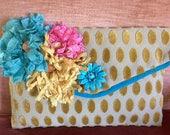Vintage Velvet Chenille Polka Dot Clutch, Ribbon Flowers