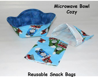 Thomas The Tank Engine Reusable snack bags and microwave cozy