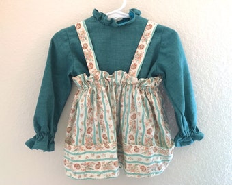 Vintage Toddler Girls 80's Dress, Teal, Cream, Paisley, Long Sleeve (3T)