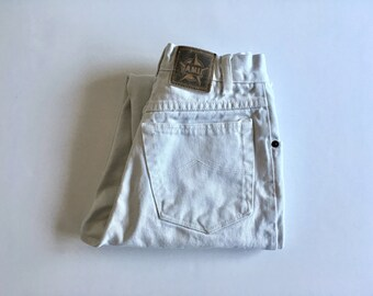 Vintage Women's 90's White Jeans, High Waisted, Denim by A.M.I. Jeans (XS)