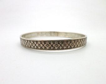 Sterling Silver Flower Bangle Bracelet Vintage
