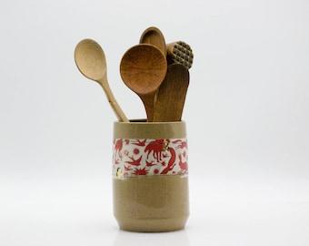 Utensil holder - ceramic utensil - organizer systems - kitchen utensil jar - utensil organizer
