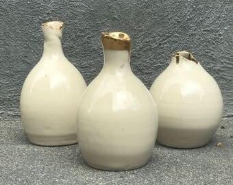 Ceramic bud vase - gold vase - handmade ceramics - bud  vase - Set of three - modern minimal decor - Pottery vase - housewarming gift