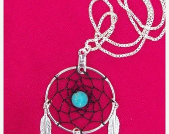 1daySALE DREAM CATCHER Black & Blue Necklace Silver with Black dream web ,Turquoise and sterling silver