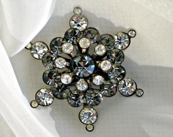 Vintage Rhinestone Brooch White and 'Black Diamonds' 50s Style