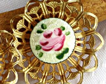 50s Earrings Champleve Enamel Openwork Vintage Costume Jewelry