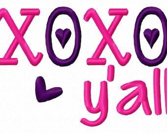 XOXO Yall Valentine Machine Embroidery Design 4x4 5x7 6x10 holiday valentines day love hugs kisses shirt bib baby shower gift first 1st girl