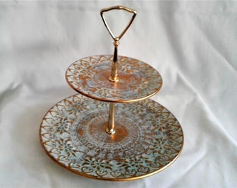 Vintage Mid Century Modern Retro Hollywood Regency Aqua Blue and Gold  Stangl Pottery Antique Gold 2 Tier Serving  Dish with Handle Wedding