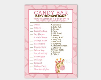 Pink Giraffe Candy Bar Matching Baby Shower Game | Girl Baby Shower Game Printable PDF INSTANT DOWNLOAD bs-024