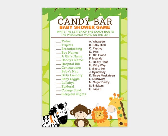 Bright Jungle Safari Candy Bar Matching Baby Shower Game Jungle