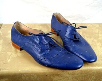 Cute Vintage Blue Cut Outs Leather Lace Up Shoes