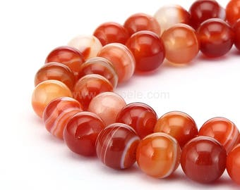 """You Pick AAA Natural Red Stripe Agate 4mm 6mm 8mm 10mm Gemstone Round Loose Beads 15.5"""" (1 strand) #GC10"""