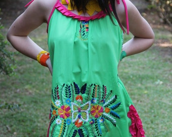 Lime, fuchsia, and multi colored One of a kind Hand Embroidered Mexican Spaghetti strapped dress