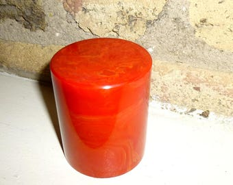 """Red Bakelite Cup. Vintage Tested Bakelite. 3"""" Tall. Dice Cup for Game, or Pencil Holder. 1940s."""