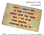 Wallet Card Insert, TORCH FIRED FINISH, Copper, Hand Stamped, Anniversary, Wedding,  Personalized Gift, Husband, Boyfriend, Love, Poem