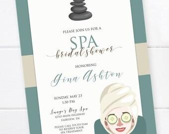 Spa Bridal Shower Invitation, Spa Bridal Shower, Spa Birthday, Spa Invitation, Bachelorette Party, Spa Party Invitation, DIGITAL FILE
