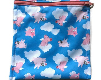 Flying Pigs Sandwich Size Bag Washable Reusable Snack Wet Bag