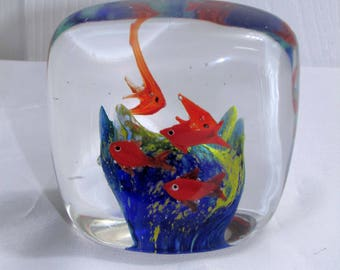 Beautiful Vintage Glass Paperweight Fish Coral Reef Bubbles Aquarium