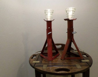 Pair of glass insulator topped jack stand lamps