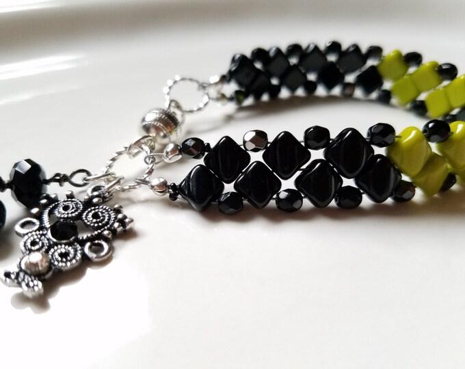 Beaded bracelet, beadwork bracelet, boho bracelet, handmade bracelet, gift for her, Czech bead bracelet, unique bracelet, bead woven jewelry