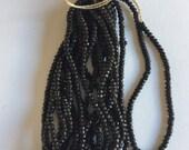 RARE - Antique Steel Cut Micro Beads 5 - BLACK - Partial Hank