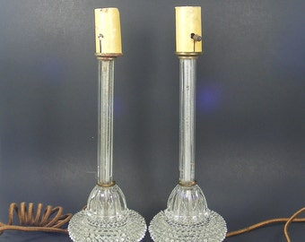 Glass Candlestick Lamps Pair of Antique Hobnail Glass Lamps 13 inch tall Vintage Lighting